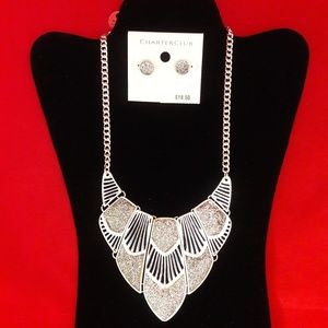 Silver Glitter Necklace and Earrings Jewelry Set